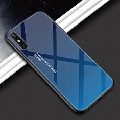 Custodia Silicone Specchio Laterale Sfumato Arcobaleno Cover per Huawei Enjoy 10e Blu