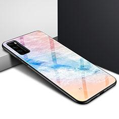 Custodia Silicone Specchio Laterale Sfumato Arcobaleno Cover per Huawei Enjoy 20 Pro 5G Arancione