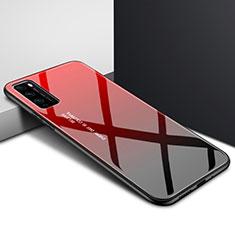 Custodia Silicone Specchio Laterale Sfumato Arcobaleno Cover per Huawei Enjoy 20 Pro 5G Rosso