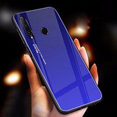 Custodia Silicone Specchio Laterale Sfumato Arcobaleno Cover per Huawei Enjoy 9s Blu