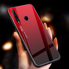 Custodia Silicone Specchio Laterale Sfumato Arcobaleno Cover per Huawei Enjoy 9s Rosso
