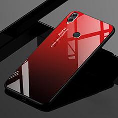 Custodia Silicone Specchio Laterale Sfumato Arcobaleno Cover per Huawei Enjoy Max Rosso