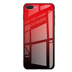 Custodia Silicone Specchio Laterale Sfumato Arcobaleno Cover per Huawei Honor 10 Rosso