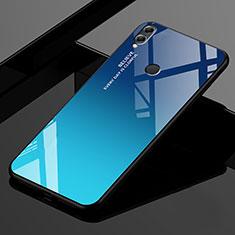 Custodia Silicone Specchio Laterale Sfumato Arcobaleno Cover per Huawei Honor 8X Max Blu