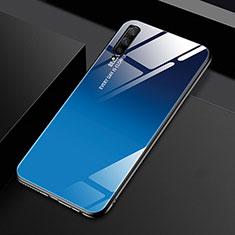 Custodia Silicone Specchio Laterale Sfumato Arcobaleno Cover per Huawei Honor 9X Pro Blu