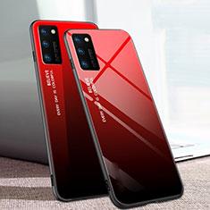 Custodia Silicone Specchio Laterale Sfumato Arcobaleno Cover per Huawei Honor View 30 Pro 5G Rosso