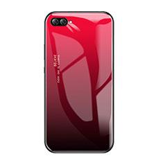 Custodia Silicone Specchio Laterale Sfumato Arcobaleno Cover per Huawei Nova 2S Rosso