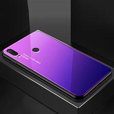 Custodia Silicone Specchio Laterale Sfumato Arcobaleno Cover per Huawei Nova 3e Blu