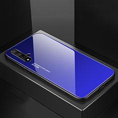 Custodia Silicone Specchio Laterale Sfumato Arcobaleno Cover per Huawei Nova 5 Pro Blu