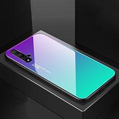 Custodia Silicone Specchio Laterale Sfumato Arcobaleno Cover per Huawei Nova 5 Pro Ciano