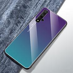 Custodia Silicone Specchio Laterale Sfumato Arcobaleno Cover per Huawei Nova 5T Multicolore