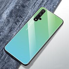Custodia Silicone Specchio Laterale Sfumato Arcobaleno Cover per Huawei Nova 5T Verde