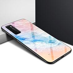 Custodia Silicone Specchio Laterale Sfumato Arcobaleno Cover per Huawei Nova 7 5G Arancione