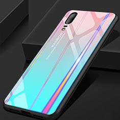 Custodia Silicone Specchio Laterale Sfumato Arcobaleno Cover per Huawei P20 Ciano