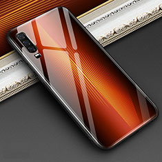 Custodia Silicone Specchio Laterale Sfumato Arcobaleno Cover per Huawei P30 Arancione