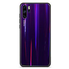 Custodia Silicone Specchio Laterale Sfumato Arcobaleno Cover per Huawei P30 Pro Viola