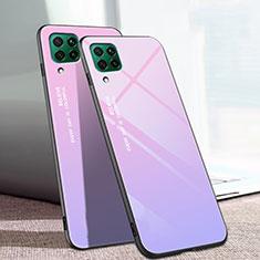 Custodia Silicone Specchio Laterale Sfumato Arcobaleno Cover per Huawei P40 Lite Viola