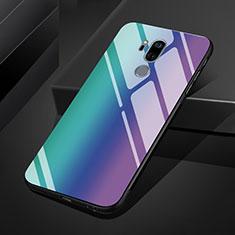 Custodia Silicone Specchio Laterale Sfumato Arcobaleno Cover per LG G7 Blu