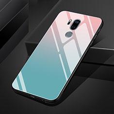 Custodia Silicone Specchio Laterale Sfumato Arcobaleno Cover per LG G7 Cielo Blu