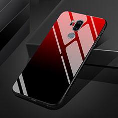 Custodia Silicone Specchio Laterale Sfumato Arcobaleno Cover per LG G7 Rosso
