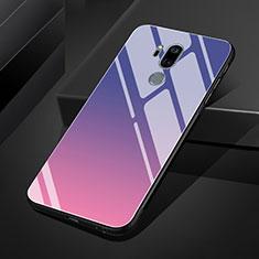 Custodia Silicone Specchio Laterale Sfumato Arcobaleno Cover per LG G7 Viola