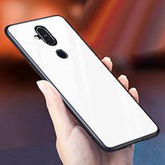 Custodia Silicone Specchio Laterale Sfumato Arcobaleno Cover per Nokia 7.1 Plus Bianco