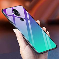 Custodia Silicone Specchio Laterale Sfumato Arcobaleno Cover per Nokia 7.1 Plus Ciano