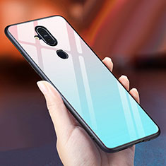 Custodia Silicone Specchio Laterale Sfumato Arcobaleno Cover per Nokia 7.1 Plus Cielo Blu