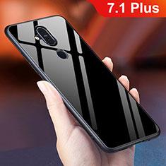 Custodia Silicone Specchio Laterale Sfumato Arcobaleno Cover per Nokia 7.1 Plus Nero