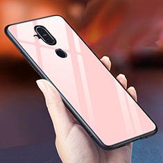 Custodia Silicone Specchio Laterale Sfumato Arcobaleno Cover per Nokia 7.1 Plus Oro Rosa