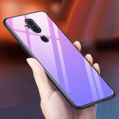 Custodia Silicone Specchio Laterale Sfumato Arcobaleno Cover per Nokia 7.1 Plus Viola