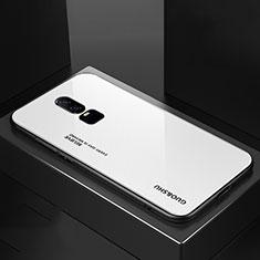 Custodia Silicone Specchio Laterale Sfumato Arcobaleno Cover per OnePlus 6 Bianco
