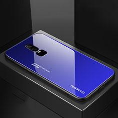 Custodia Silicone Specchio Laterale Sfumato Arcobaleno Cover per OnePlus 6 Blu