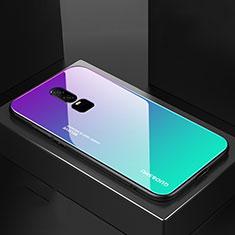Custodia Silicone Specchio Laterale Sfumato Arcobaleno Cover per OnePlus 6 Ciano