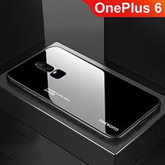 Custodia Silicone Specchio Laterale Sfumato Arcobaleno Cover per OnePlus 6 Nero