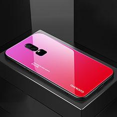 Custodia Silicone Specchio Laterale Sfumato Arcobaleno Cover per OnePlus 6 Rosa Caldo