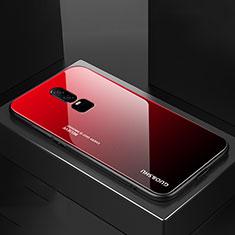 Custodia Silicone Specchio Laterale Sfumato Arcobaleno Cover per OnePlus 6 Rosso