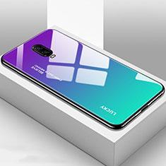 Custodia Silicone Specchio Laterale Sfumato Arcobaleno Cover per OnePlus 6T Ciano