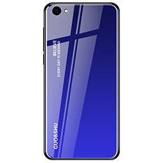 Custodia Silicone Specchio Laterale Sfumato Arcobaleno Cover per Oppo A3 Blu
