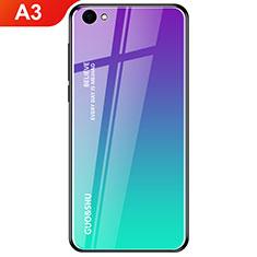 Custodia Silicone Specchio Laterale Sfumato Arcobaleno Cover per Oppo A3 Ciano