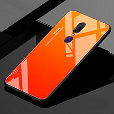 Custodia Silicone Specchio Laterale Sfumato Arcobaleno Cover per Oppo A9 Arancione
