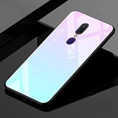 Custodia Silicone Specchio Laterale Sfumato Arcobaleno Cover per Oppo A9X Ciano