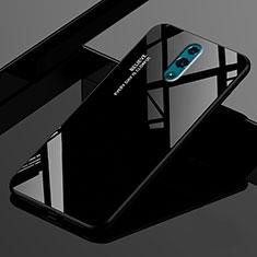 Custodia Silicone Specchio Laterale Sfumato Arcobaleno Cover per Oppo Realme X Nero