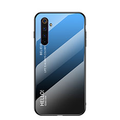 Custodia Silicone Specchio Laterale Sfumato Arcobaleno Cover per Realme 6s Blu