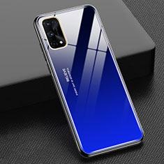Custodia Silicone Specchio Laterale Sfumato Arcobaleno Cover per Realme X7 Pro 5G Blu