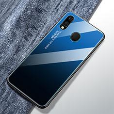 Custodia Silicone Specchio Laterale Sfumato Arcobaleno Cover per Samsung Galaxy A40 Blu