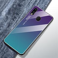 Custodia Silicone Specchio Laterale Sfumato Arcobaleno Cover per Samsung Galaxy A40 Cielo Blu