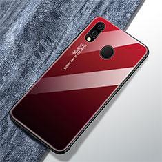 Custodia Silicone Specchio Laterale Sfumato Arcobaleno Cover per Samsung Galaxy A40 Rosso