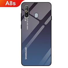Custodia Silicone Specchio Laterale Sfumato Arcobaleno Cover per Samsung Galaxy A8s SM-G8870 Nero