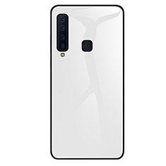 Custodia Silicone Specchio Laterale Sfumato Arcobaleno Cover per Samsung Galaxy A9s Bianco